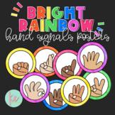 Bright Rainbow Hand Signals Posters (Editable)