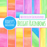 Bright Rainbow Handpainted Watercolor Digital Papers / Backgrounds Clip Art