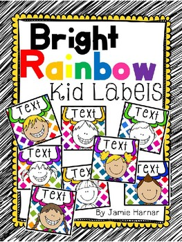 Bright Rainbow Kid Labels