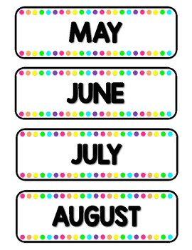 Bright Rainbow Monthly Labels
