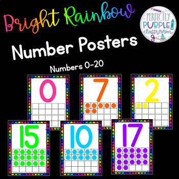 Bright Rainbow Number Posters