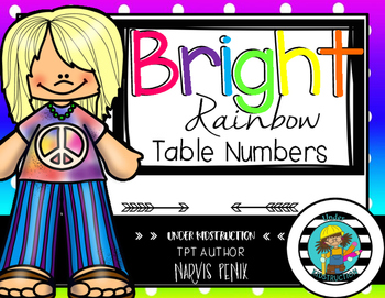 Bright Rainbow Polka Dot Theme Table Numbers