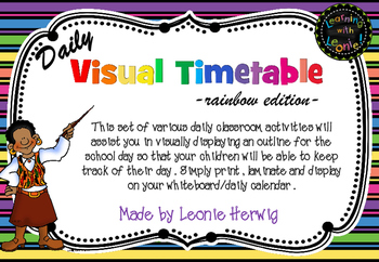 Bright Rainbow Stripes Visual Timetable - Daily Chart Free