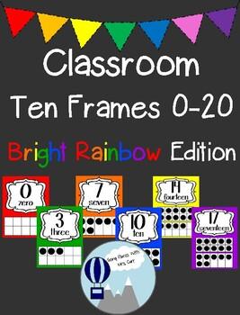 Bright Rainbow Theme Classroom Ten Frames Posters 0-20