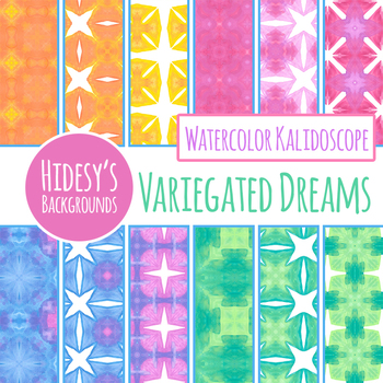 Bright Rainbow Watercolor Digital Papers / Backgrounds Clip Art Set