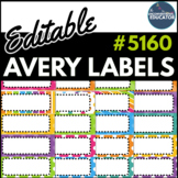 "Bright Rainbow Editable Avery Labels- #5160 (1"" x 2 5/8"")"