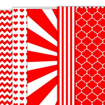 Bright Red Digital Papers Pack for Personal or Commercial Use CU Okay