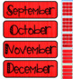 Bright Red Linen Themed Pocket Chart Subject Schedule Cards and Calendar