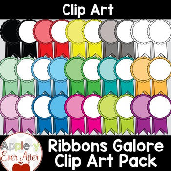 #AugTpTClipLove Bright Ribbon Clipart - With Lineart