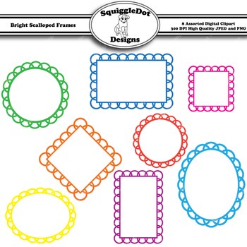 Bright Scalloped Frames Clip Art