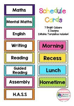 Bright Schedule Cards