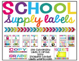 Bright School Supply Labels (Editable)
