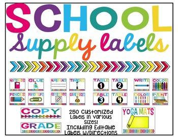 Bright School Supply Labels (Editable)