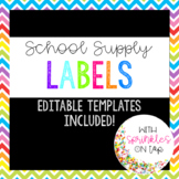 Bright School Supply Labels, Editable