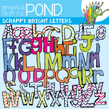 Bright Scrappy Letters SUPER Pack {Clipart}