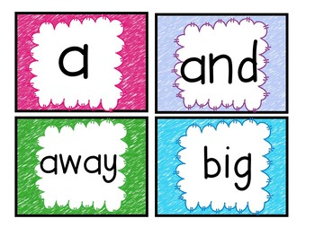 Bright Scribble Crayon SIght Word Cards for Bulletin Boards