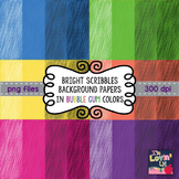 Bright Scribbles Digital Background Papers in Bubble Gum Colors