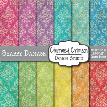 Bright Shabby Damask Digital Paper 1502
