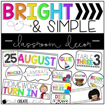 Bright & Simple Classroom Decor {Editable}