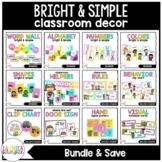 Bright & Simple Classroom Decor Bundle in Spanish