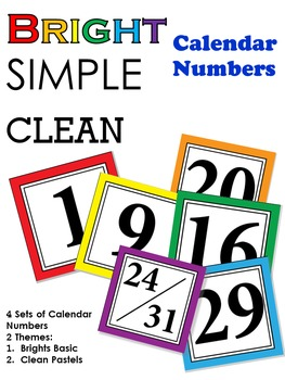 Bright Simple Clean : Calendar Numbers