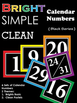 Bright Simple Clean : Calendar Numbers : Black Series