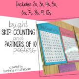 Bright Skip Count and Partners of 10 Posters | Hundreds Ch
