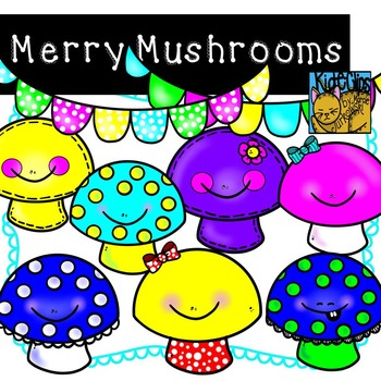 Mushroom Clip Art Smiley Face Clips Personal and Commercial Use Kid-E-Clips
