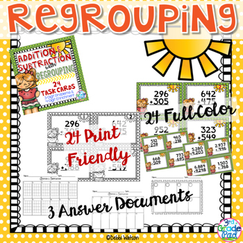 Addition & Subtraction w/ Regrouping Task Cards