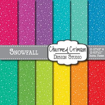 Bright Snowfall Digital Paper 1166