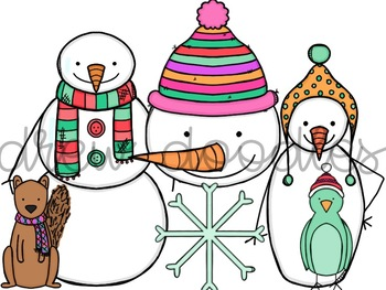 Bright Snowmen Digital Clip Art Set