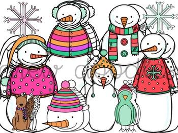 Bright Snowmen Digital Clip Art Set- Color and Black Line COMBO