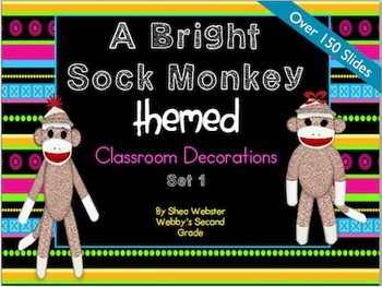 Bright Sock Monkey Mega Classroom Decor Set One