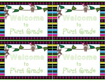 Bright Sock Monkey Welcome to Kindergarten-Sixth Grade Post Cards Less Ink