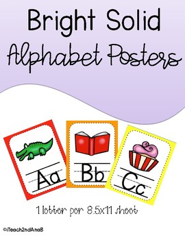 Bright Solid Alphabet Posters