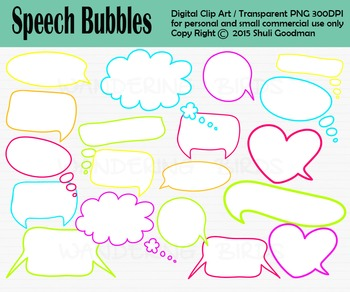 Bright Speech Bubbles clip art - neon style