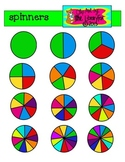 Bright Spinners for games or teaching fractions with blacklines included