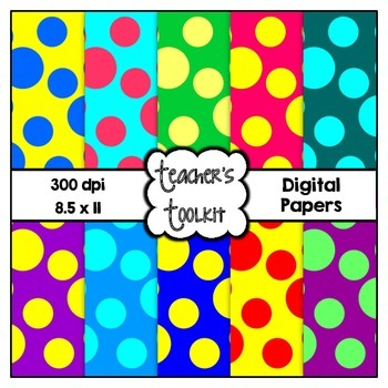 Bright Spots Digital Background Papers {8.5 x 11} Clip Art CU OK