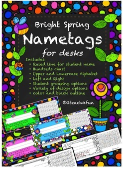 Bright Spring Bug Nametags or Nameplates for Desks