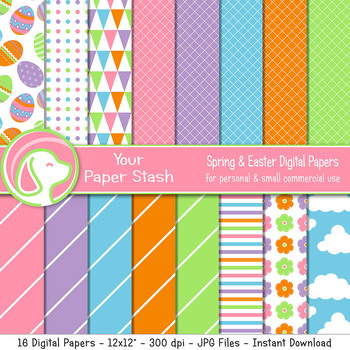 Bright Spring Papers With Easter Egg Pattern, Pink Purple Blue Striped Paper