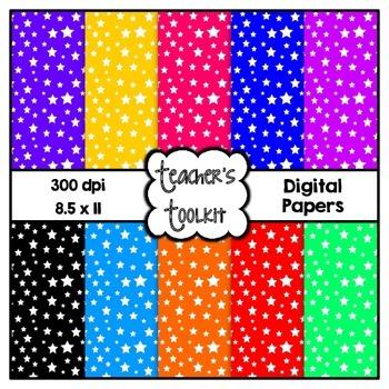 Bright Starry Digital Background Papers {8.5 x 11} Clip Art CU OK