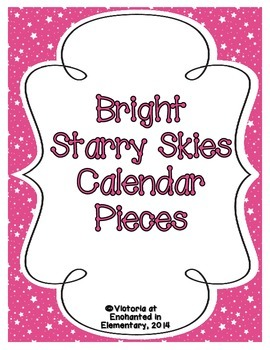 Bright Starry Skies Calendar Numbers, Months and Days