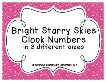 Bright Starry Skies Clock Numbers