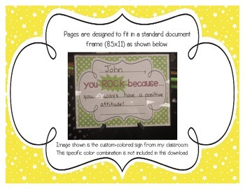 """Bright Starry Skies """"you ROCK because..."""" Student Recognition Signs"""