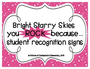 "Bright Starry Skies ""you ROCK because..."" Student Recognition Signs"