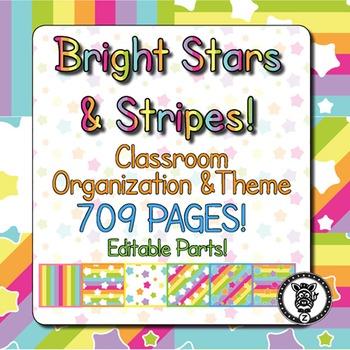 Classroom Theme Decor / Organization - Mega Bundle Bright Stars & Stripes