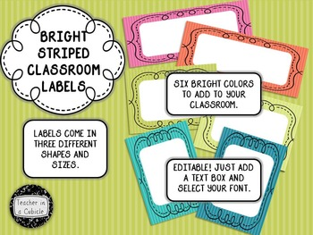 Bright Striped Classroom Labels