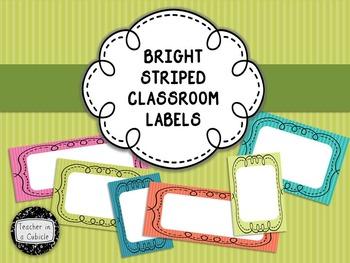Bright Striped Classroom Labels