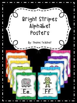 Bright Stripes Alphabet Posters