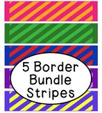 Bright Stripes Bulletin Board Border Printable Bundle Pack of 5